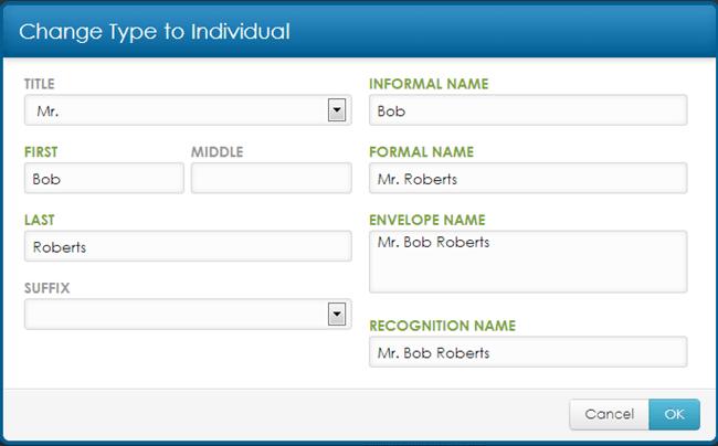 Change Type to Individual