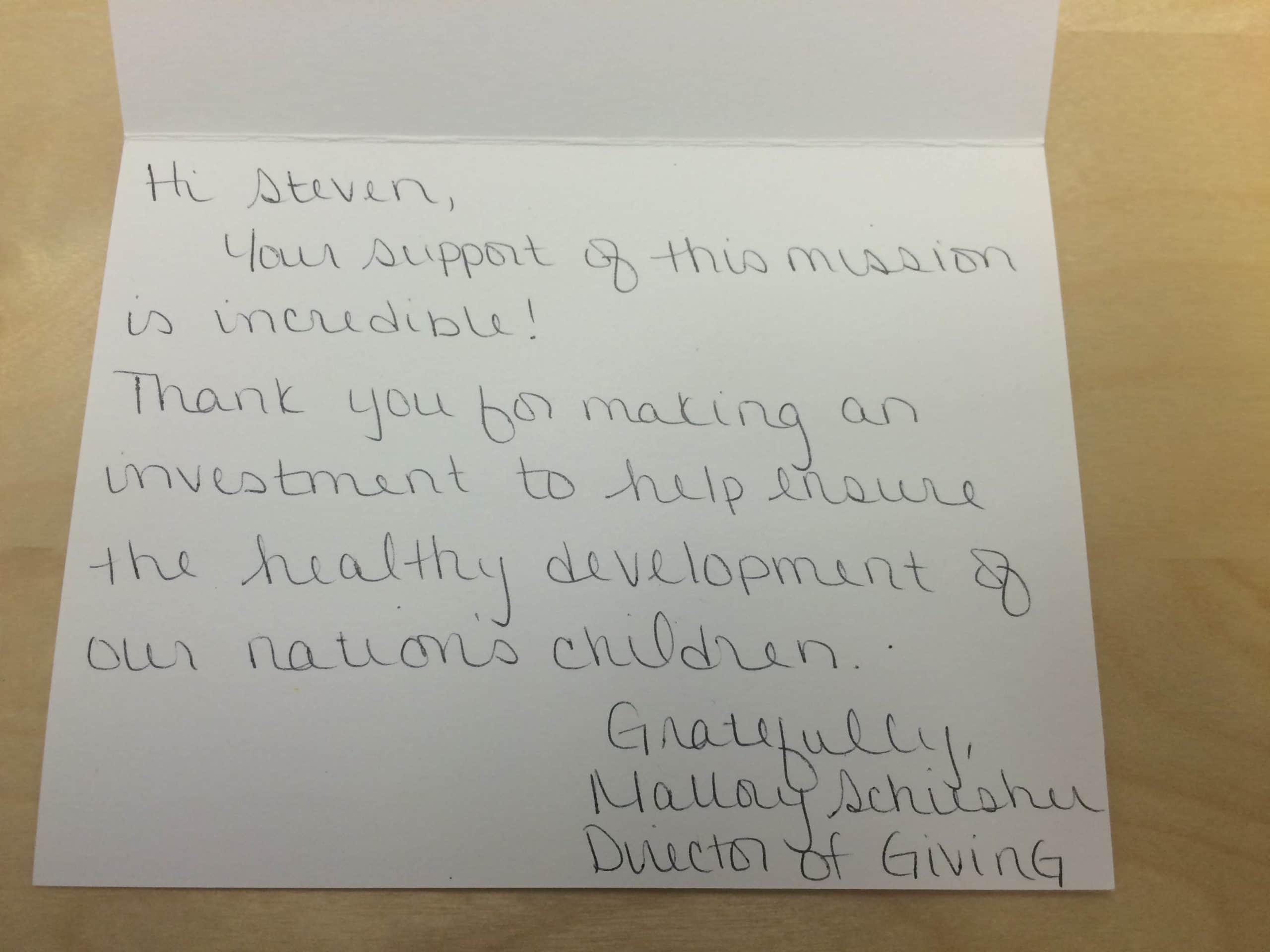 Why small donations should matter a lot to nonprofits thank you note altavistaventures Images