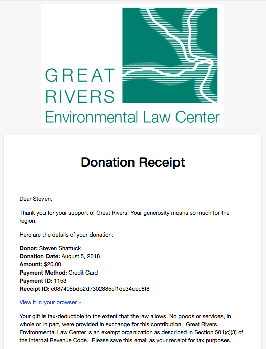 first-time donor gift acknowledgement